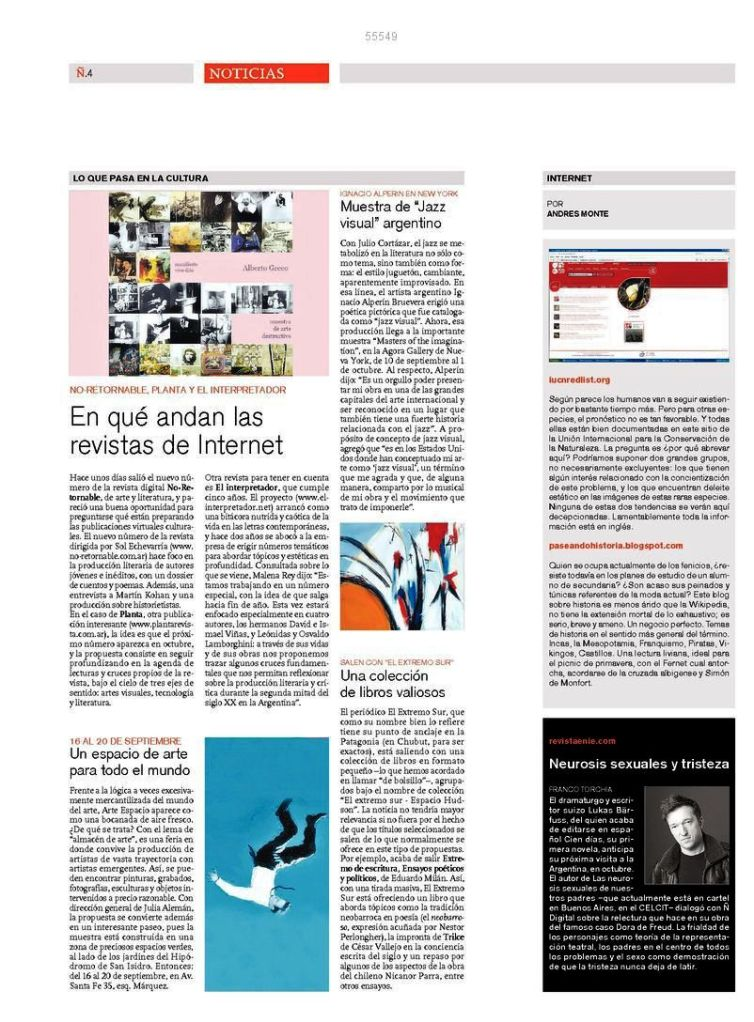 Nota del día 11 de Septiembre de 2010 - Article on Ignacio´s art which appeared on 9/11/2010
